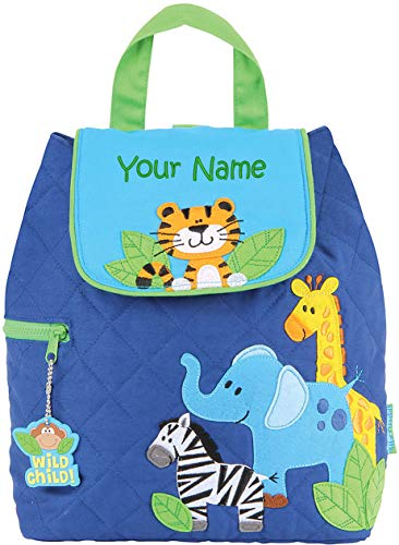 Personalized Stephen Joseph Boy Zoo Quilted Backpack with Embroidered Name ()