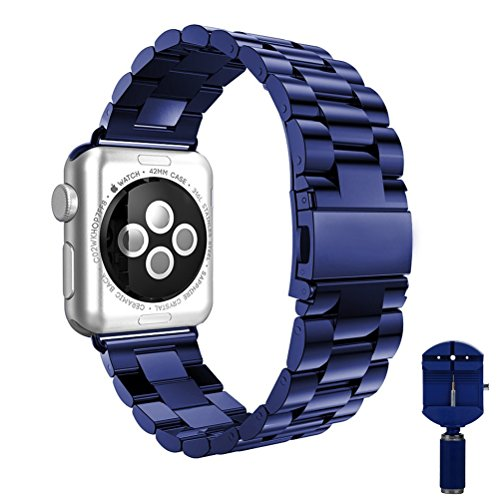 Apple Watch band, VIPPLUS iWatch Band Stripe Stainless Steel Strap Wristband Replacement Bracelet with Durable Folding Metal Clasp for Apple Watch Series 3/2/1 Navy Blue (Series Stainless Steel Folding)