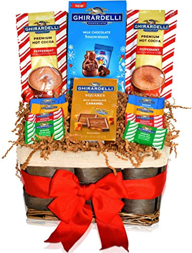 Ghirardelli Christmas Gift Basket - Ghirardelli Milk Chocolates and Premium Hot Cocoas