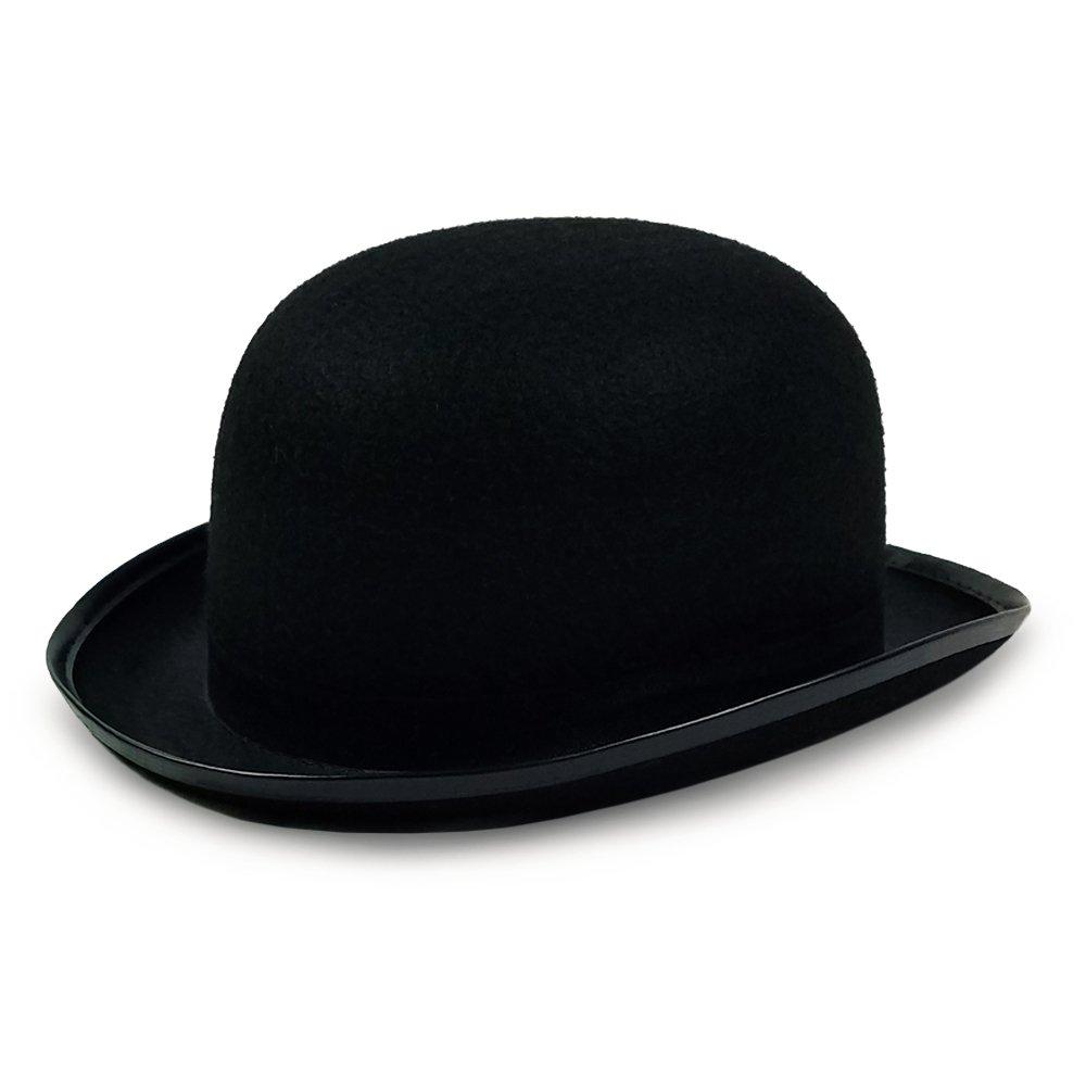 711c41d65c9 Amazon.com  Colonel Pickles Novelties Derby Hat - Bowler Hat – Black For  Men Women Boys and Girls Vintage Costumes  Clothing