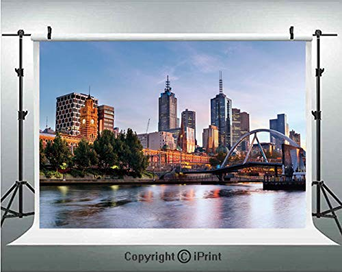 City Photography Backdrops Early Morning Scenery in Melbourne Australia Famous Yarra River Scenic,Birthday Party Background Customized Microfiber Photo Studio Props,5x3ft,Orange Green Pale ()