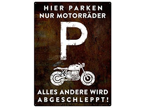 PARKSCHILD 28x20cm HIER PARKEN NUR MOTORR/ÄDER Motorradparkplatz Garage Club Bike