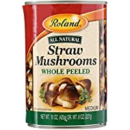 Roland Mushrooms, Straw, Whole Peeled, DY WT 8Oz, Net WT 15 Oz (Pack of 8)