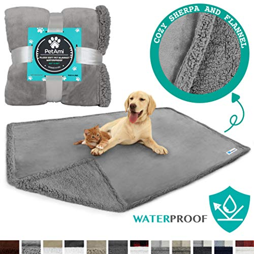 PetAmi Waterproof Dog Blanket for Bed, Couch, Sofa | Waterproof Dog Bed Cover for Large Dogs, Puppies | Sherpa Fleece…