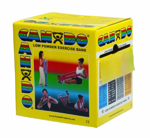 CanDo Low Powder Exercise Band, 50 yard roll, Yellow: X-Ligh