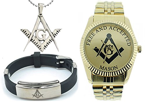 3 Piece Jewelry Set - Freemason Pendant, Bracelet & Masonic Watch on sale. Free and Accepted Masons. Gold Color Steel Band Full Gold Color Face Dial Freemason Symbol Watch