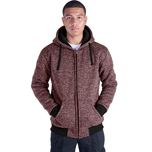 Plus Size S-5XL Marled Fleece Hoodie for Men Heavyweight Sherpa Lined Full Zip Up Big&Tall Long Sleeve Winter Jacket Coat(Red, L)