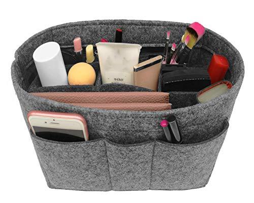 Felt Insert Fabric Purse Organizer Bag, Bag Insert In Bag with Zipper Inner Pocket Fits Neverfull Speedy 8010 Gery -