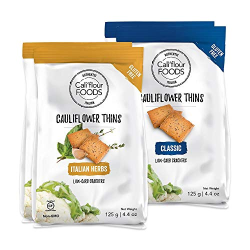 NEW Cali'flour Thins: Low-Carb Cauliflower Based Keto Crackers - 5g Protein, 0g Net Carbs Per Serving - Naturally Gluten, Soy, and Lactose Free - 0 Added Sugar (4 Pack Mix: 2 Classic, 2 Italian)