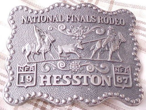 1987 Hesston/National Finals Rodeo Belt Buckle -- Team Roping -- Brand New/Original