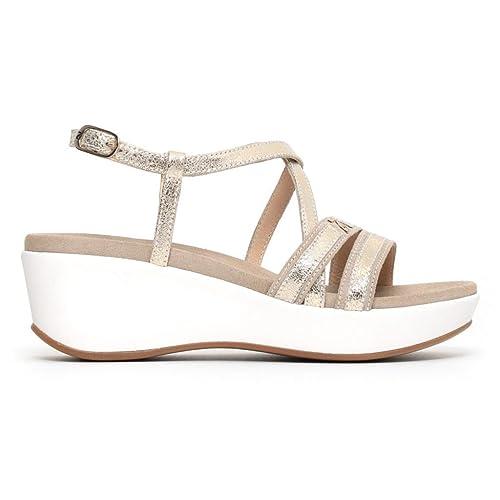 05700 PLATINO Scarpa donna NeroGiardini sandalo pelle con zeppa made in Italy