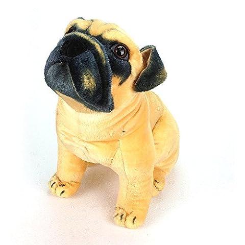 Sealive Vivid Animal Plush Toy Cute Pug Dog Lifelike Stuffed Animal Super Sprout Dog Decor Car Home Nursery (Aris Speaker)