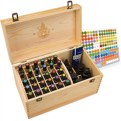 Essential Oil Box - Wooden Storage Chest With Handle & 2 Removable Trays. Holds 60 Bottles. Extra Space For Larger Items. Large Case Best For Keeping Your Oils Safe. Free EO Labels - Popular items