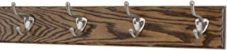"""product image for PegandRail Oak Coat Rack with Satin Nickel Hat and Coat Style Hooks (Walnut, 20"""" x 3.5"""" with 4 Hooks)"""