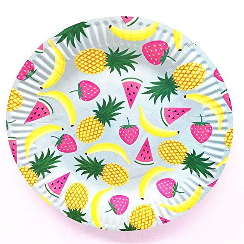 Linker Wish Paper Plates 10pcs 7inch Tropical Fruit Pineapple Paper Plates Disposable Cake Barbecue Dishes Birthday Party Wedding Tray -