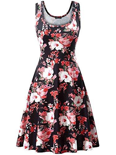 - FENSACE Women's Sleeveless Summer Beach Black Floral Dress,18034-1,Large