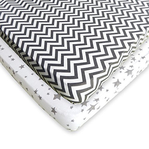 Pack N Play Fitted Sheet Set - 2 Pack - 100% Soft Jersey Cotton Pack N Play Sheets For Mini And Portable Crib - Stylish Grey Chevron / Stars Print - Perfect Playard Sheets For Baby Girl or Baby Boy Dream Lite Mattress