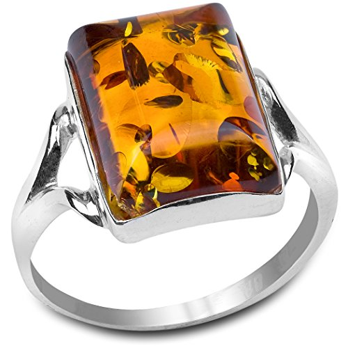 Amber and Sterling Silver Rectangular Ring