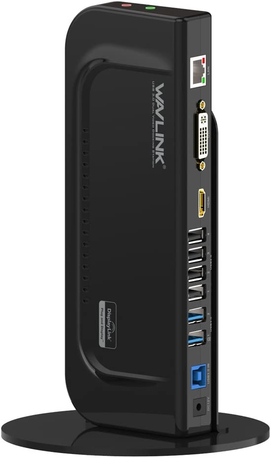 WAVLINK USB 3.0 Universal Docking Station con Peana Desmontable, Dual Display con Puerto HDMI/DVI/VGA, 2 USB 3.0 + 4 USB 2.0, Gigabit Ethernet y Audio Jack para PC y Mac, Windows