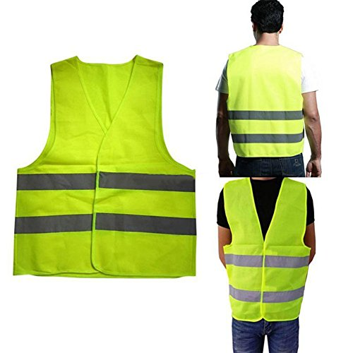 HongHong Breathable Reflective Stripes Safety Guard Vest for Running, Construction, Cycling ANSI/ISEA Standard -