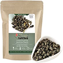 FullChea Jasmine Pearls Full-leaf Green Tea, Organic Chinese Tea Bulk Pouch 4oz / 113g