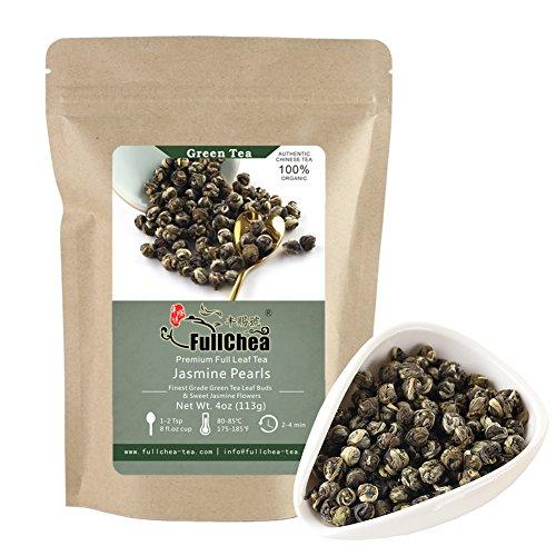 FullChea Jasmine Pearls Full-leaf Green Tea, Organic Chinese Tea Bulk Pouch