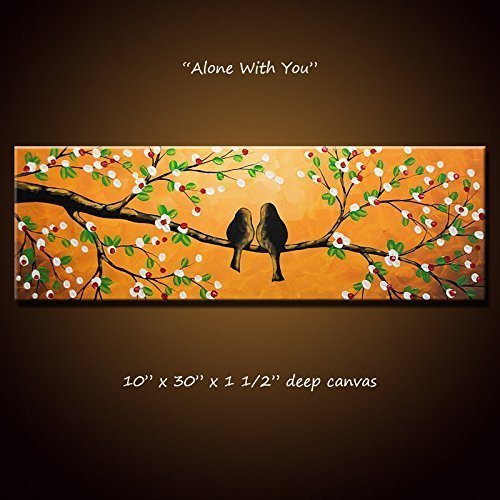 Lovebirds Painting Original Art Large Modern Trees Birds Love ... 10 x 30 .. ''Alone With You'', Anniversary or wedding gift by SkyeArt