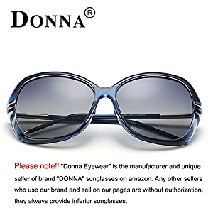 DONNA Women's Classic Oversized Polarized Sunglasses Super Big Circle Shades Ultralight D72(Blue)