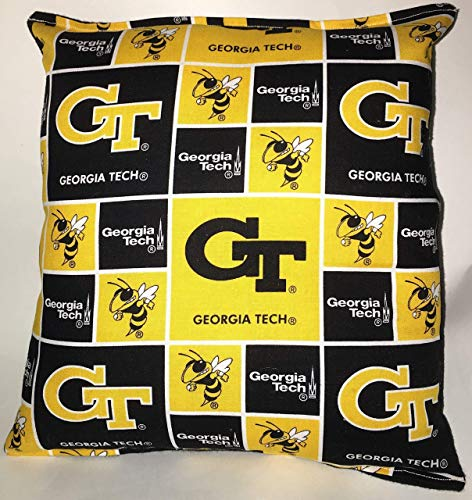 (Georgia Tech GT Pillow 10 inches by 11 inches Handmade Hypoallergenic Cotton with Flannel Backing)