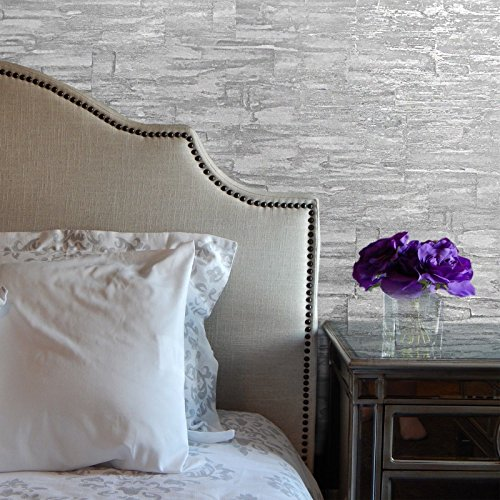 Silver Faux Textured Wallpaper - 113.52 sq.ft Rolls Embossed European Slavyanski Modern Plain wallcoverings Faux Stone Imitation Pattern Vinyl Non-Woven Wallpaper White Silver Metallic Textured Removable Washable Paste The Wall only