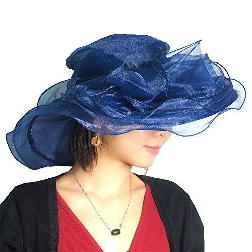June's Young Women's Organza Church Derby Hats Tea Party Wedding Hat 10 Colors Navy