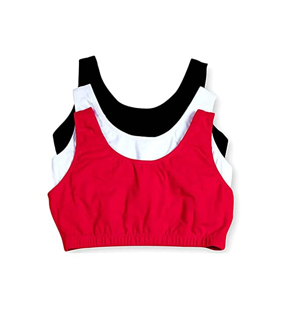 de3e94cadd0b5 Fruit of the Loom Tank Style Sports Bra - 3 Pack (9012) 42 Red White Black   Amazon.in  Clothing   Accessories