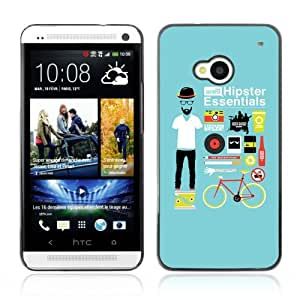Designer Depo Hard Protection Case for HTC One M7 / Cool Hipster Essentials Kit