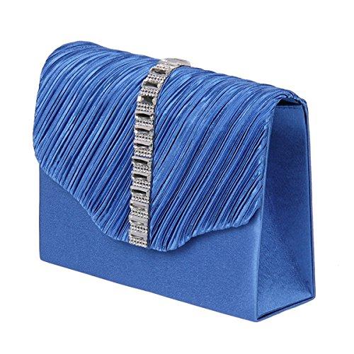 H&D - Cartera de mano de poliéster para mujer azul azul