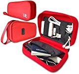 Travel Cord Organizer - Electronics Accessories Case & Travel Document Organizer - Packing Cubes (Hand Red)