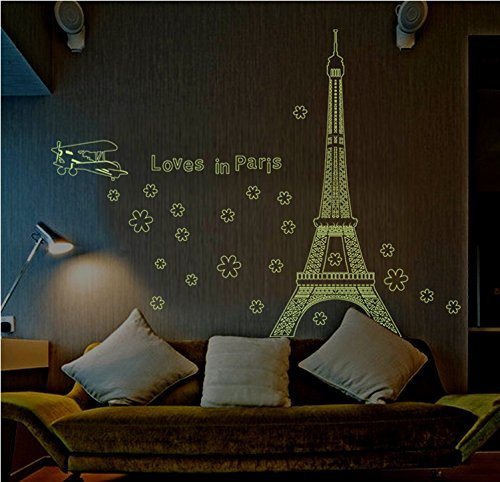 Glow in the Dark Wall Decal Loves in Paris Eiffel Tower Fecals