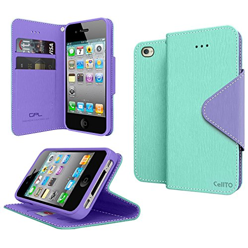 GPL Cellto Apple iPhone 4 iPhone 4S Premium Wallet Case Diary Cover PU EPI Leather + Life Time Warranty - Mint Purple