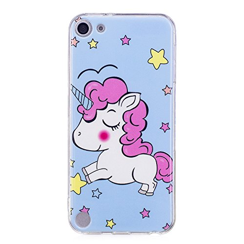 iPod Touch 6 case, iPod Touch 5 case, Alkax Clear Soft TPU Case with Cute Pattern Slim Bumper Thin Cover for Grils Kids Protective Case Design for Apple iPod Touch 5th 6th generation(Blue pink horse) (Gen Blue Touch Girl 5th Ipod Case)