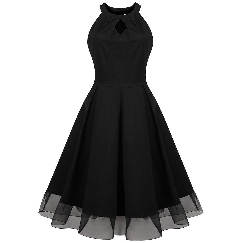 iPretty Sexy Sommerkleid Damen Plus Size ärmellos Rundkragen Spleiß Abendkleider Knielang Schwarz