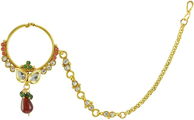 Indian Gold Bollywood Ethnic nath Nose Ring Wedding Bridal Traditional Jewelry 1