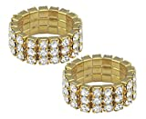 BodySparkle Body Jewelry Pair of Gold Color Three Row Rhinestone Stretch Rings