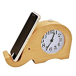 ECVISION Wooden Clock Cell phone Stand Small Silent Desk Snooze beech Wood Alarm Clock,Handmade Mute Creative Elephant Alarm Clock with Nightlight (Elephant)