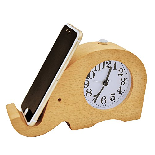 Price comparison product image ECVISION Wooden Clock Cell phone Stand Small Silent Desk Snooze beech Wood Alarm Clock, Handmade Mute Creative Elephant Alarm Clock with Nightlight (Elephant)