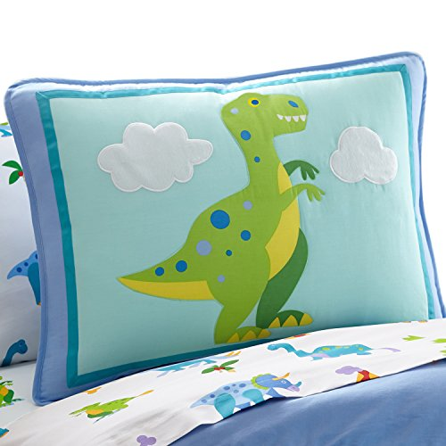 Olive Bedding Toddler Kids - Wildkin Pillow Sham, 100% Cotton Pillow Sham, Bold Patterns Coordinate with Other Bedding and Room Décor, Olive Kids Design – Dinosaur Land