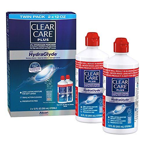 Clear Care Plus Cleaning and Disinfecting Solution with Lens Case, Twin Pack, 12-Ounces Each from Clear Care