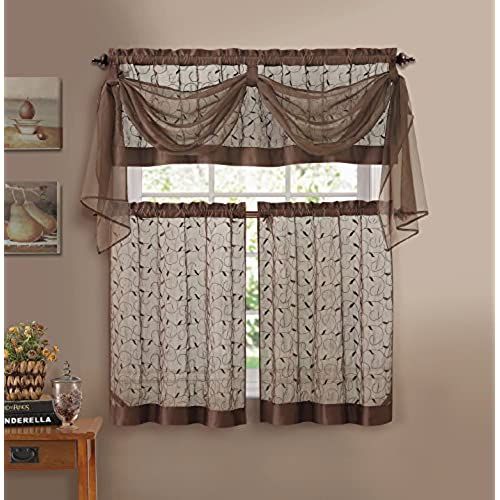 Superbe GoodGram Linen Leaf Embroidered Sheer Kitchen Curtain Set   Assorted Colors  (Chocolate)