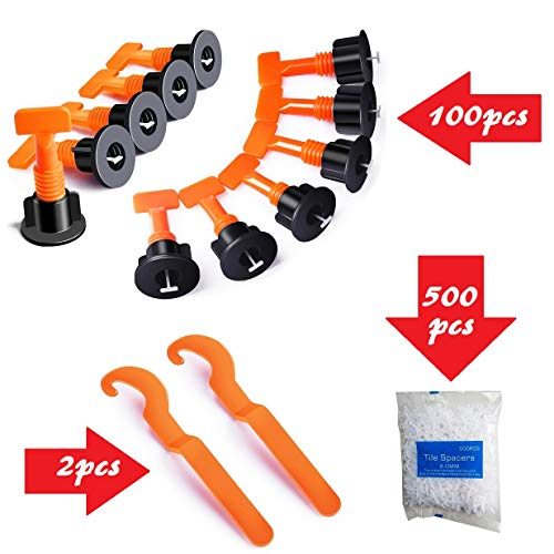 YIYATOO 100pcs Tile Leveler Spacers and 500PCS 2mm Tile Spacer