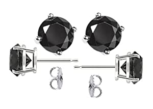 4mm 18K White Gold Plated Round Fashion Black Cubic Zirconia Crystal Stud Earrings for Women and Men