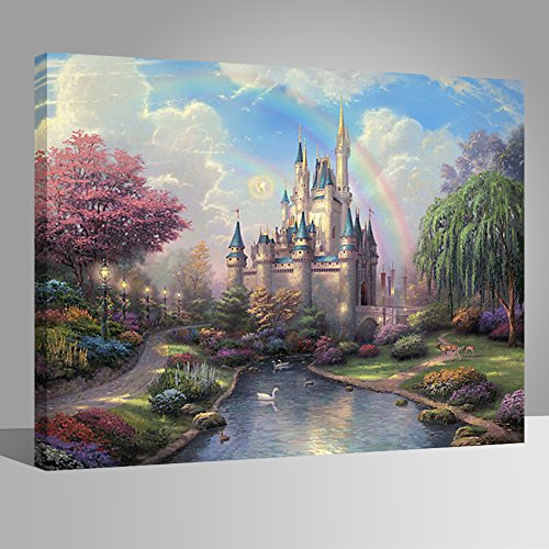 LIUDAO Paint by Numbers Kits with Brushes and Acrylic Pigment,Oil Painting for Kids and Beginner 16x20 Inch (Wooden Frame, Dream Castle)