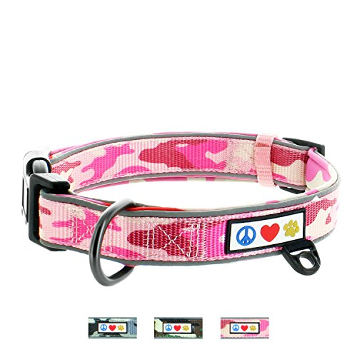 Pink Camo Pet Dog - Pawtitas Soft Adjustable Reflective Padded Pet Dog Collar Camouflage Pink Camo Extra Small 5/8 Inch